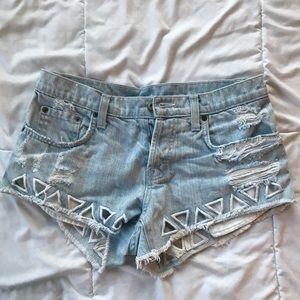 Triangle Cut-Out Carmar Jean Shorts